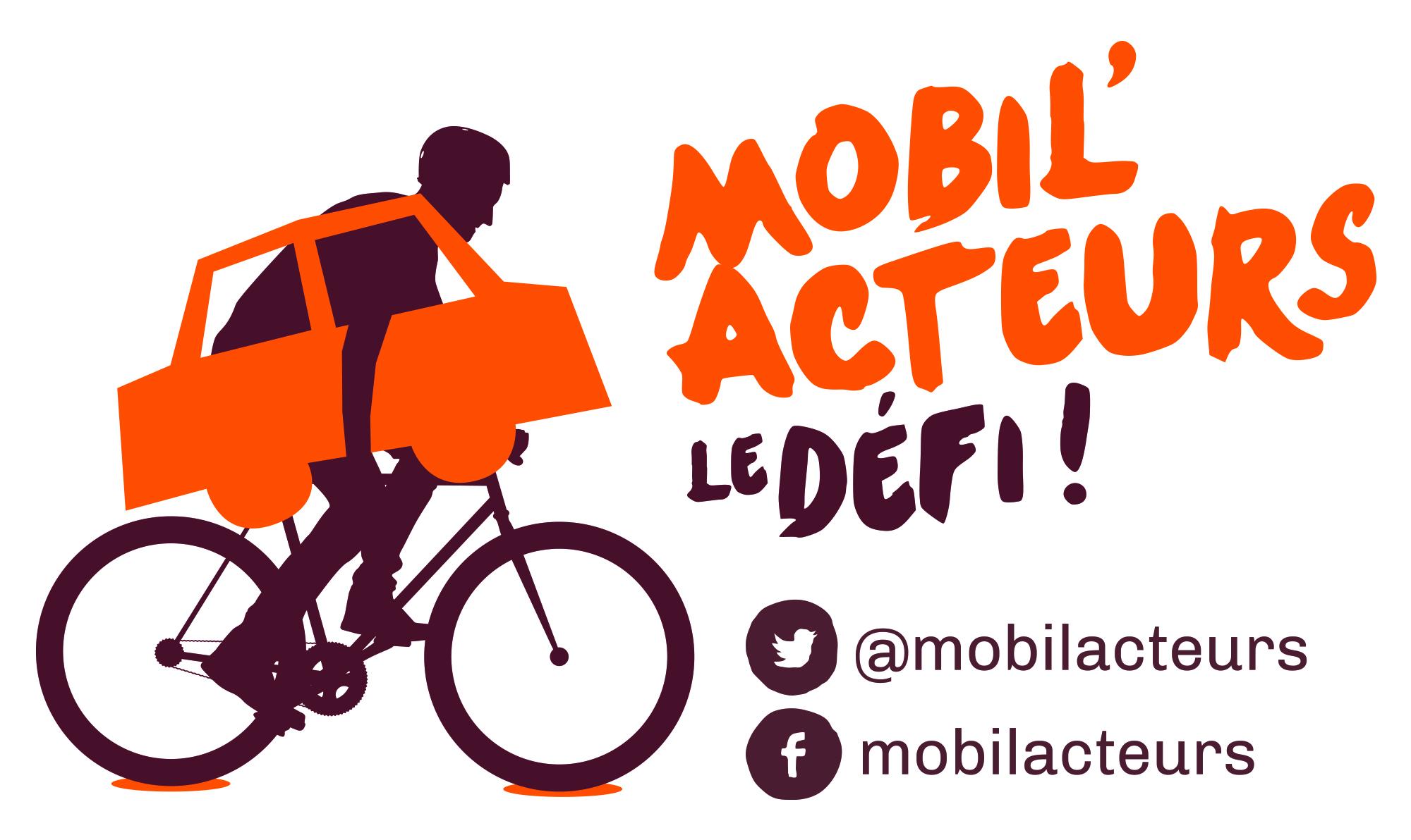 Affiche mobilacteurs repr�sentant un cycliste portant sa voiture